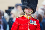 Trooping the Colour 2013: Foot Guards Regimental Adjutant Major G V A Baker, Grenadier Guards, during the Inspection of the Line. Image #327, 15 June 2013 11:03 Horse Guards Parade, London, UK
