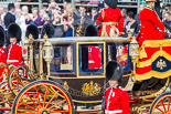 Trooping the Colour 2013: HM The Queen in the Glass Coach during the Inspection of the Line. Image #335, 15 June 2013 11:04 Horse Guards Parade, London, UK