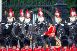 Trooping the Colour 2013: The Brigade Major Household Division Lieutenant Colonel Simon Soskin, Grenadier Guards, during the Inspection of the Line. Image #343, 15 June 2013 11:05 Horse Guards Parade, London, UK