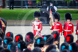 """Trooping the Colour 2013: The """"Lone Drummer"""", Lance Corporal Christopher Rees has marched to his position two paces to the right of No. 1 Guards, the Escort for the Colour. Image #421, 15 June 2013 11:14 Horse Guards Parade, London, UK"""