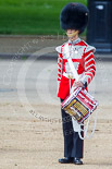 "Trooping the Colour 2013: The ""Lone Drummer"", Lance Corporal Christopher Rees ready to play the Drummer's Call. Image #424, 15 June 2013 11:15 Horse Guards Parade, London, UK"