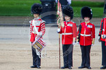 "Trooping the Colour 2013: The ""Lone Drummer"", Lance Corporal Christopher Rees in position next to No. 1 Guard, the Escort for the Colour. Image #425, 15 June 2013 11:15 Horse Guards Parade, London, UK"