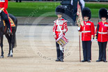"Trooping the Colour 2013: The ""Lone Drummer"", Lance Corporal Christopher Rees, starts playing the Drummer's Call. Image #427, 15 June 2013 11:16 Horse Guards Parade, London, UK"