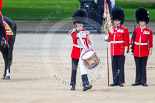 """Trooping the Colour 2013: The """"Lone Drummer"""", Lance Corporal Christopher Rees,  marches forward to re-join the band. Image #429, 15 June 2013 11:16 Horse Guards Parade, London, UK"""