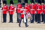 "Trooping the Colour 2013: The ""Lone Drummer"", Lance Corporal Christopher Rees,  marches forward to re-join the band. Image #430, 15 June 2013 11:16 Horse Guards Parade, London, UK"