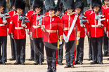 Trooping the Colour 2013: Captain F O Lloyd-George gives the orders for No. 1 Guard (Escort for the Colour),1st Battalion Welsh Guards to move into close order. Image #433, 15 June 2013 11:17 Horse Guards Parade, London, UK