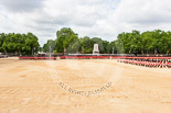 Trooping the Colour 2013: A wide angle overview of Horse Guards Parade. on the left, No. 1 Guard (Escort for the Colour),1st Battalion Welsh Guards is moving forward to receive the Colour. Image #434, 15 June 2013 11:17 Horse Guards Parade, London, UK