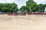 Trooping the Colour 2013: No. 1 Guard (Escort for the Colour),1st Battalion Welsh Guards is moving forward to receive the Colour. Image #435, 15 June 2013 11:17 Horse Guards Parade, London, UK