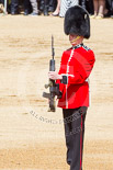 Trooping the Colour 2013: The second (unnamed) sentry, presenting arms whilst the National Anthem is played. Image #467, 15 June 2013 11:21 Horse Guards Parade, London, UK