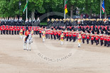 Trooping the Colour 2013: The Field Officer and the five Drum Majors after the Escort for the Colour has become the Escort to the Colour and the Massed Bands are performing the legendary spin wheel. Image #478, 15 June 2013 11:23 Horse Guards Parade, London, UK
