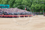 Trooping the Colour 2013: The western side of Horse Guards Parade, with the Massed Bands close to the spectators, and the Major of the Parade on the very right of the image. Image #497, 15 June 2013 11:26 Horse Guards Parade, London, UK
