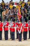 Trooping the Colour 2013: The Ensign, Second Lieutenant Joel Dinwiddle, and the Escort to the Colour,are back at their initial position, when they were the Escort for the Colour. The guardsmen are changing arms. Image #507, 15 June 2013 11:28 Horse Guards Parade, London, UK