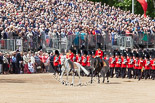 Trooping the Colour 2013: The Field Officer in Brigade Waiting, Lieutenant Colonel Dino Bossi, Welsh Guards, and the Major of the Parade, Major H G C Bettinson, Welsh Guards, leading the March Past. Image #528, 15 June 2013 11:33 Horse Guards Parade, London, UK