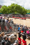 Trooping the Colour 2013: Wide angle view from the press stand, including spectators andphotographers,  during the March Past. Image #534, 15 June 2013 11:34 Horse Guards Parade, London, UK
