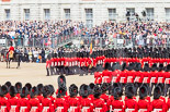Trooping the Colour 2013: The guards change directions in the corners of Horse Guards Parade not by marching around the corner, but by forming new lines of guardsmen at a right angle to the previous direction. Image #557, 15 June 2013 11:39 Horse Guards Parade, London, UK