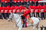 Trooping the Colour 2013: The Field Officer in Brigade Waiting, Lieutenant Colonel Dino Bossi, Welsh Guards, has left the front of the March Past to salute to Her Majesty. Image #560, 15 June 2013 11:39 Horse Guards Parade, London, UK