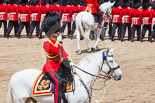 Trooping the Colour 2013: The Field Officer in Brigade Waiting, Lieutenant Colonel Dino Bossi, Welsh Guards, saluting Her Majesty. Image #565, 15 June 2013 11:39 Horse Guards Parade, London, UK