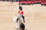 Trooping the Colour 2013: The Field Officer in Brigade Waiting, Lieutenant Colonel Dino Bossi, Welsh Guards, riding backwards after saluting the Queen. Image #566, 15 June 2013 11:39 Horse Guards Parade, London, UK