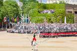 Trooping the Colour 2013: The Field Officer in Brigade Waiting, Lieutenant Colonel Dino Bossi, Welsh Guards, returning to the head of the guards during the March Past. Image #569, 15 June 2013 11:40 Horse Guards Parade, London, UK