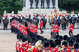 Trooping the Colour 2013: No. 1 Guard (Escort for the Colour),1st Battalion Welsh Guards, at the beginning of the March Past in Quick Time. Behind them the Household Cavalry in front of Guards Memorial. Image #582, 15 June 2013 11:42 Horse Guards Parade, London, UK