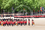 Trooping the Colour 2013: The March Past in Quick Time. The guards are marching beween the Massed Bands, in front, and the Mounted Band of the Household Cavalry behind them. Image #618, 15 June 2013 11:48 Horse Guards Parade, London, UK