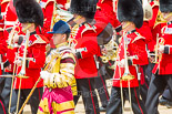 Trooping the Colour 2013: Drum Major Neill Lawman, Welsh Guards, with the Band of the Irish Guards, as the Massed Bands are moving out of the path of the Mounted Bands. Image #635, 15 June 2013 11:51 Horse Guards Parade, London, UK