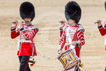 Trooping the Colour 2013: The Massed Bands, moving out of the path of the Mounted Bands of the Household Cavalry, are led by the Corps of Drums. Image #638, 15 June 2013 11:51 Horse Guards Parade, London, UK