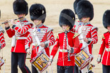 Trooping the Colour 2013: The Massed Bands, moving out of the path of the Mounted Bands of the Household Cavalry, are led by the Corps of Drums. Image #639, 15 June 2013 11:51 Horse Guards Parade, London, UK