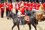 Trooping the Colour 2013: The Ride Past - the Mounted Bands of the Household Cavalry move, from the eastern side, onto Horse Guards Parade. The Director of Music of the Household Cavalry, Major Paul Wilman, The Life Guardsis followed by the kettle drummer from The Life Guards. Image #646, 15 June 2013 11:52 Horse Guards Parade, London, UK
