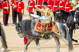 Trooping the Colour 2013: The Ride Past - the Mounted Bands of the Household Cavalry move, from the eastern side, onto Horse Guards Parade. Here the kettle drummer from The Blues and Royals. Image #648, 15 June 2013 11:52 Horse Guards Parade, London, UK