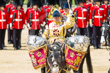 Trooping the Colour 2013: The Ride Past - the Mounted Bands of the Household Cavalry move, from the eastern side, onto Horse Guards Parade. Here the kettle drummer from The Life Guards. Image #655, 15 June 2013 11:53 Horse Guards Parade, London, UK