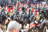Trooping the Colour 2013: The Third and Forth Divisions of the Sovereign's Escort, The Blues and Royals, during the Ride Past. Image #696, 15 June 2013 11:55 Horse Guards Parade, London, UK