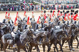 Trooping the Colour 2013: The Third and Forth Divisions of the Sovereign's Escort, The Blues and Royals, during the Ride Past. Image #698, 15 June 2013 11:56 Horse Guards Parade, London, UK