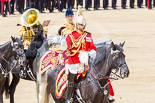 Trooping the Colour 2013: The Mounted Bands of the Household Cavalry during the Ride Past. The Director of Music of the Household Cavalry, Major Paul Wilman, The Life Guardsis followed by the kettle drummer from The Life Guards. Image #708, 15 June 2013 11:57 Horse Guards Parade, London, UK