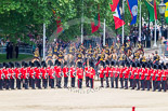 Trooping the Colour 2013: With the Ride Past coming to and end, the King's Troop Royal Horse Artillery are gathering on Horse Guards Road, ready to leave Horse Guards Parade and to march off. Image #738, 15 June 2013 12:00 Horse Guards Parade, London, UK