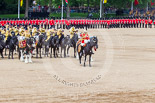 Trooping the Colour 2013: The Mounted Bands of the Household Cavalry are ready to leave, the Royal Horse Artillery can be seen on the top-right of the photos, ready to march off. Image #740, 15 June 2013 12:00 Horse Guards Parade, London, UK