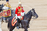 Trooping the Colour 2013: The Director of Music Mounted Bands, Major Paul Wilman, The Life Guards, and the kettle drummer from the Blues and Royals, as the Mounted Bands are ready to march off. Image #742, 15 June 2013 12:00 Horse Guards Parade, London, UK