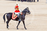 Trooping the Colour 2013: The Director of Music Mounted Bands, Major Paul Wilman, The Life Guards, salutes Her Majesty as the Mounted Bands are ready to march off. Image #744, 15 June 2013 12:00 Horse Guards Parade, London, UK