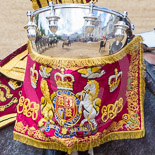Trooping the Colour 2013: Detail view of on the kettle drums, reflecting the scene around. Image #746, 15 June 2013 12:00 Horse Guards Parade, London, UK