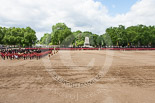 Trooping the Colour 2013: A wide angle overview of Horse Guards Parade after the Ride Past. The Household Cavalry is returning to their initial positions below the flags, next to St James's Park. Image #757, 15 June 2013 12:01 Horse Guards Parade, London, UK