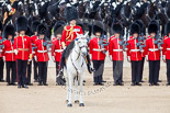 Trooping the Colour 2013: The Field Officer in Brigade Waiting, Lieutenant Colonel Dino Bossi, Welsh Guards, giving orders after the Ride Past. Image #762, 15 June 2013 12:03 Horse Guards Parade, London, UK