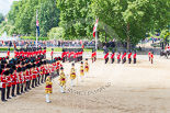 Trooping the Colour 2013: Top left, in front of St James's Park Lake, is No. 1 Guard, the Escort to the Colour, about to lead the other five guards divisions during the March Off. Image #775, 15 June 2013 12:05 Horse Guards Parade, London, UK