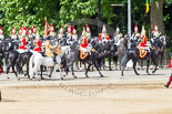 Trooping the Colour 2013: The Household Cavalry is marching off, led by the Field Officer of the Escort, Major Nick Stewart, The Life Guards, followed by the Trumpeter, Standard Bearer, and Standard Coverer. Image #777, 15 June 2013 12:06 Horse Guards Parade, London, UK