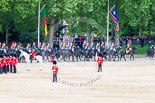 Trooping the Colour 2013: The Household Cavalry is marching off, here The Blues and Royals as third and fourth divisions of the Sovereign's Escort. Image #784, 15 June 2013 12:07 Horse Guards Parade, London, UK