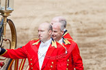 Trooping the Colour 2013: The door of the glass coach is opened for HM The Queen and HRH The Duke of Kent. Image #799, 15 June 2013 12:08 Horse Guards Parade, London, UK