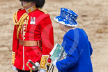 Trooping the Colour 2013: HM The Queen is leaving the dais, walking towards the glass coach. Image #802, 15 June 2013 12:09 Horse Guards Parade, London, UK