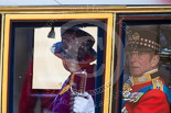 Trooping the Colour 2013: HM The Queen and HRH The Duke of Kent in the glass coach after the parade. Image #811, 15 June 2013 12:10 Horse Guards Parade, London, UK