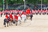 Trooping the Colour 2013: The March Off - the Massed Bands are leaving towards The Mall, followed by the glass coach carrying HM The Queen and HRH The Duke of Kent. Behind the glass coach the Royal Colonels. Image #834, 15 June 2013 12:11 Horse Guards Parade, London, UK