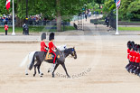 Trooping the Colour 2013: Following the six guards divisions during the March Off are the Adjutant of the Parade, Captain C J P Davies, Welsh Guards, on the white horse, and the Major of the Parade, Major H G C Bettinson, Welsh Guards, on the dark horse. Image #847, 15 June 2013 12:12 Horse Guards Parade, London, UK