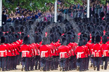 Trooping the Colour 2013: The March Off - lines of scarlet and black as the guardsmen, with their bearskins, are marching up Horse Guards Road towards The Mall. Image #867, 15 June 2013 12:13 Horse Guards Parade, London, UK